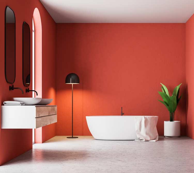 salle de bain rouge clé en main dans le Val-d'Oise